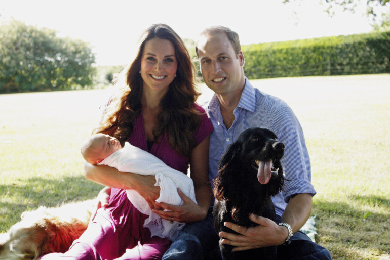 The Royal Family is growing, with Prince William and the Duchess of Cambridge expecting their second child. This photo was released in 2013 shortly after the birth of their first son Prince George. (Photo by Michael Middleton - WPA Pool/Getty Images)