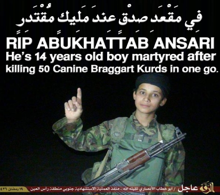 RIP ABUKHATTAB ANSARI: he's 14 years old boy martyred after killing 50 Canine Braggart Kurds in one go.