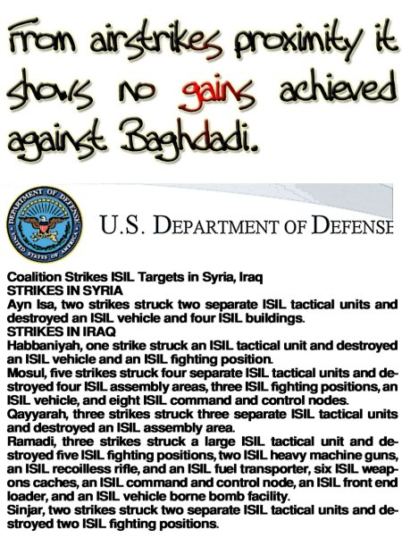 From airstrikes proximity it shows no gains achieved against Baghdadi.