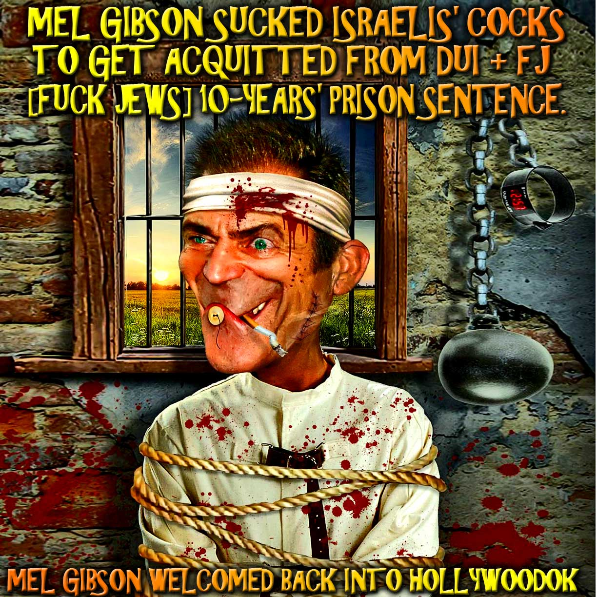 Mel Gibson sucked Israelis' Cocks to get acquitted from DUI + [FUCK JEWS] 10-years' prison sentence.