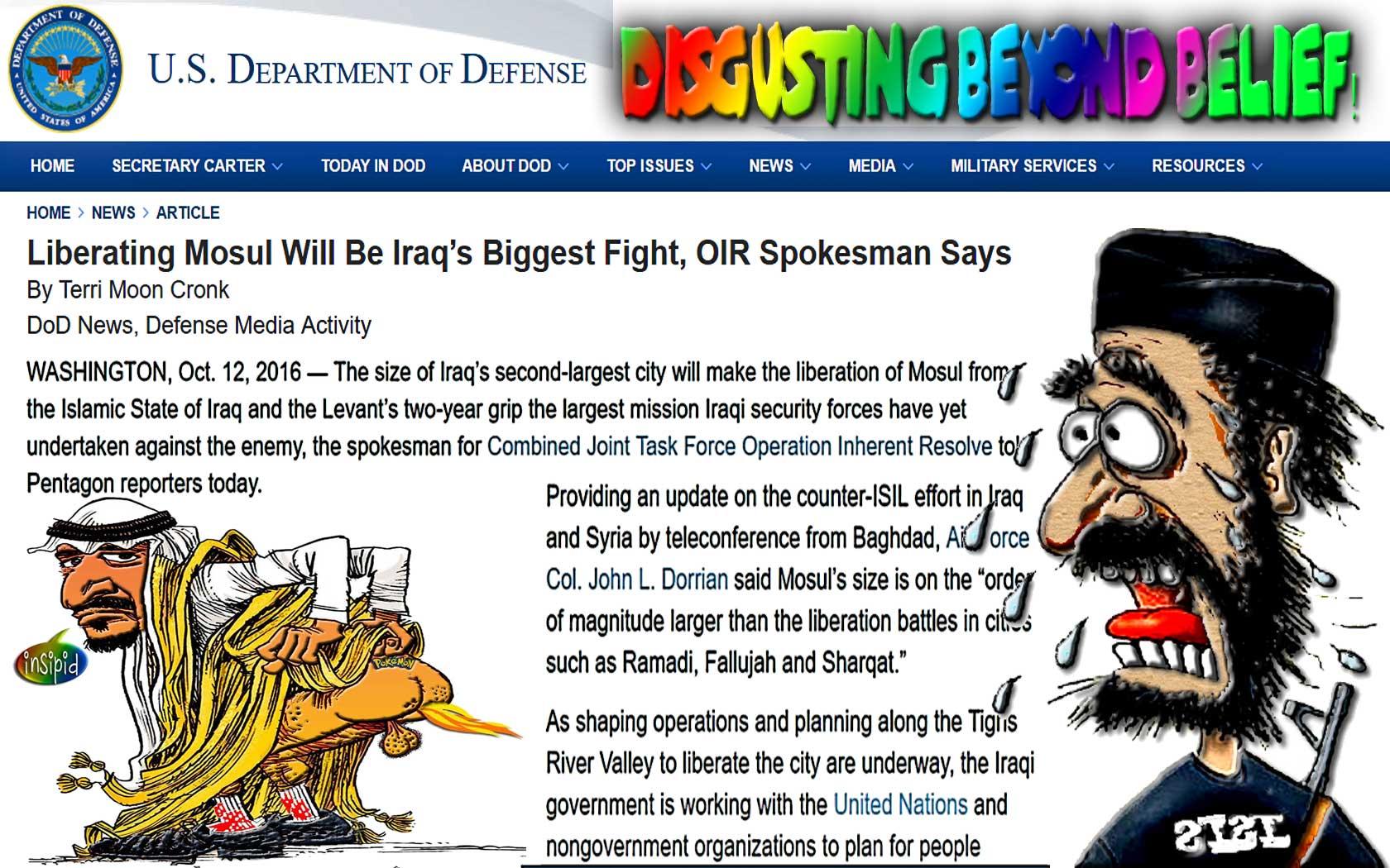 Disgusting beyond belief! Liberating Mosul Iraq's Biggest Fight, Terri Moon Cronk DoD News, WTF!