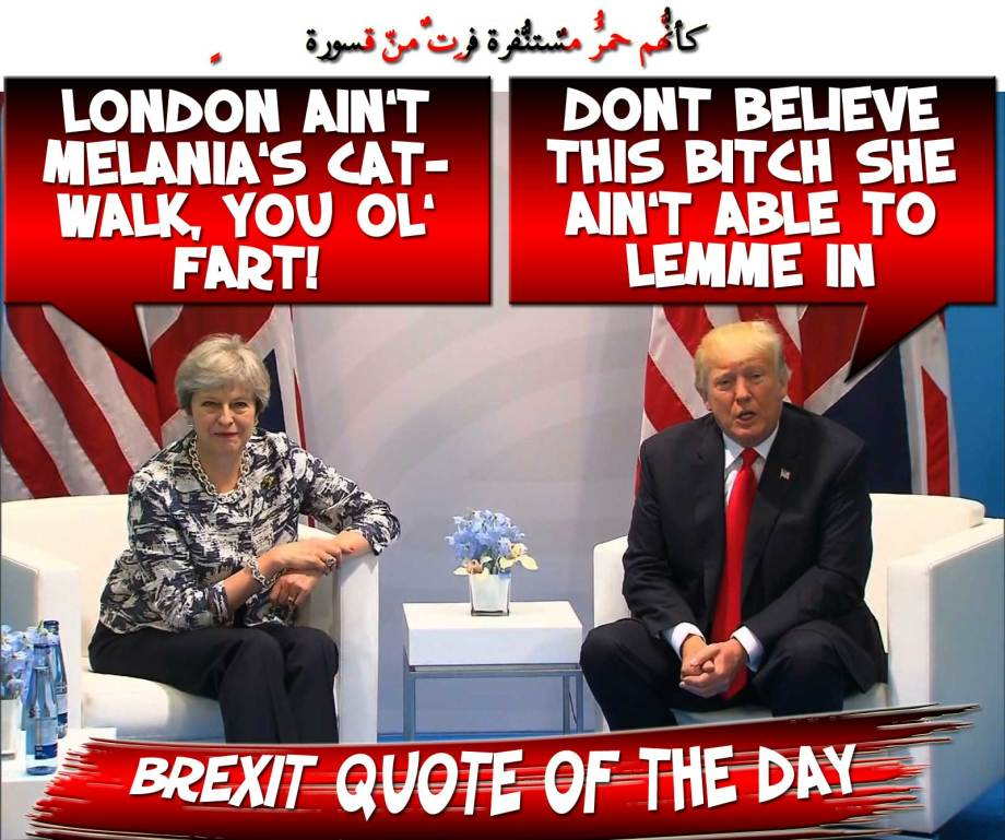 🏗BREXIT QUOTE OF THE DAY: 'Don't believe this Bitch she ain't able to lemme in!' May: 'London ain't Melania's Catwalk, you Ol' Fart!' 🏗 كأنّهُم حُمُرٌ مُّستنفِرةٌ فرّت مِن قسورةٍ