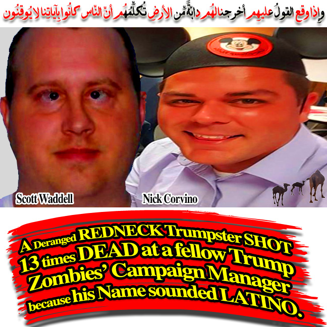 🐪🐫 A Deranged Redneck Trumpster shot 13 times dead at a fellow Trump Zombies' Campaign Manager because his name sounded Latino. وإِذا وقع القولُ عليهِم أخرجنا لهُم دابّةً مِّن الأرضِ تُكلِّمُهُم أنّ النّاس كانُوا بِآياتِنا لا يُوقِنُون 🐫🐪