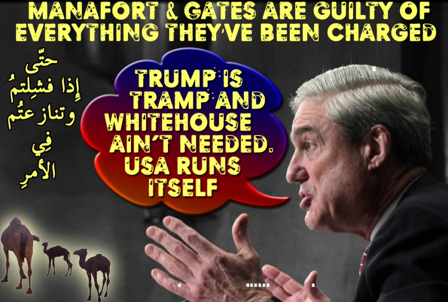 "🐪🐫Mueller: ""Trump is Tramp and Whitehouse ain't needed. USA runs itself"" Manafort & Gates are guilty of everything they've been charged.إِذ تحُسُّونهُم بِإِذنِهِ حتّى إِذا فشِلتُم وتنازعتُم فِي الأمرِ وعصيتُم مِّن بعدِ ما أراكُم مّا تُحِبُّون🐫🐪"