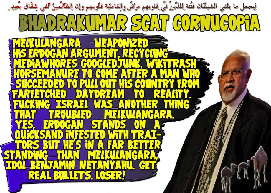 🐪🐫Bhadrakumar Scat Cornucopia: Melkulangara weaponized his Erdogan argument, recycling MediaWhores GoogledJunk, WikiTrash HorseManure to come after a man who succeeded to pull out his country from Farfetched Daydream to Reality. Fucking Israel was another thing that troubled Melkulangara. Yes, Erdogan stands on a quicksand infested with TRAITORS but he's in a far better standing than Melkulangara, Idol Benjamin Netanyahu. GET REAL BULLETS. LOSER!لِيجعل ما يُلقِي الشّيطانُ فِتنةً لِّلّذِين فِي قُلُوبِهِم مّرضٌ والقاسِيةِ قُلُوبُهُم وإِنّ الظّالِمِين لفِي شِقاقٍ بعِيدٍ 🐫🐪🐫