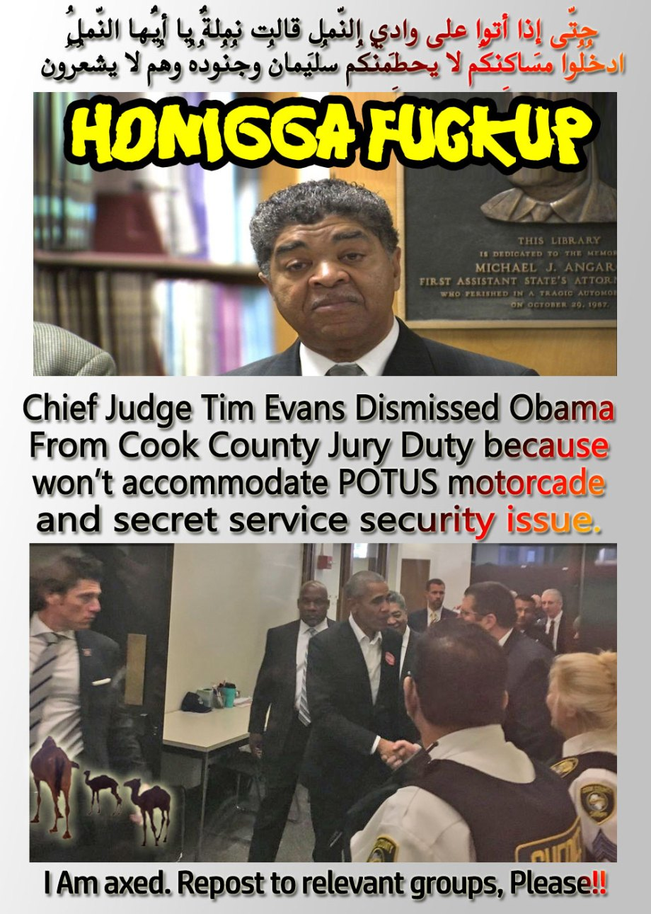 🐪🐫Honigga Fuckup: Chief Judge Tim Evans Dismissed Obama From Cook County Jury Duty because won't accommodate POTUS motorcade and secret service security issue. حتّى إِذا أتوا على وادِي النّملِ قالت نملةٌ يا أيُّها النّملُ ادخُلُوا مساكِنكُم لا يحطِمنّكُم سُليمانُ وجُنُودُهُ وهُم لا يشعُرُون I Am axed. Repost to relevant groups, Please!!🐫🐪.