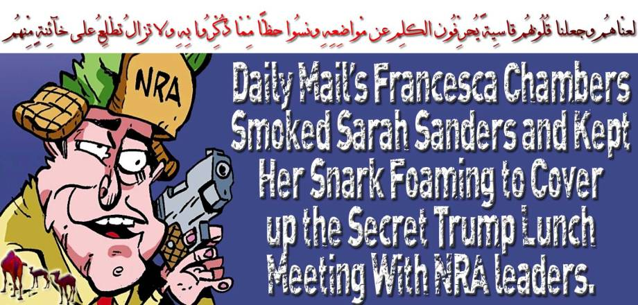 🐪Daily Mail's Francesca Chambers Smoked Sarah Sanders and Kept Her Snark Foaming to Cover up the Secret Trump Lunch Meeting With NRA leaders.لعنّاهُم وجعلنا قُلُوبهُم قاسِيةً يُحرِّفُون الكلِم عن مّواضِعِهِ ونسُوا حظًّا مِّمّا ذُكِّرُوا بِهِ ولا تزالُ تطّلِعُ على خآئِنةٍ مِّنهُم 🐫